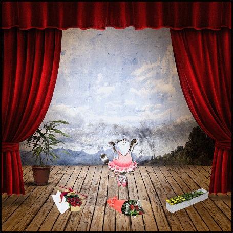 Анимация Кошечка-балерина танцует на сцене, на которой лежат букеты цветов