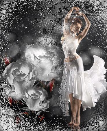 Анимация Девушка в белом платье, как образ зимы, над головой качаются снежные ветки, идет снег и падает на белые розы, автор Ирис