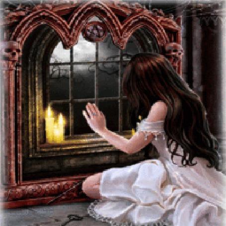 Анимация Девушка видит свое отражение с крыльями в окне