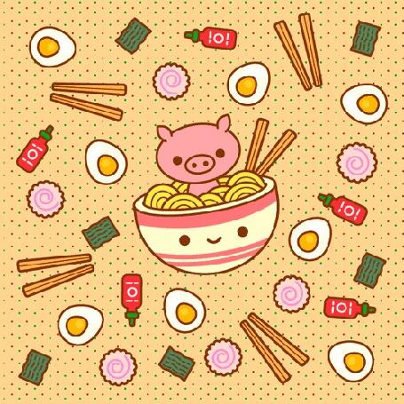Анимация Поросенок сидит в чашке с лапшой, рядом китайские палочки, яйца, пирожные и баночки с кетчупом