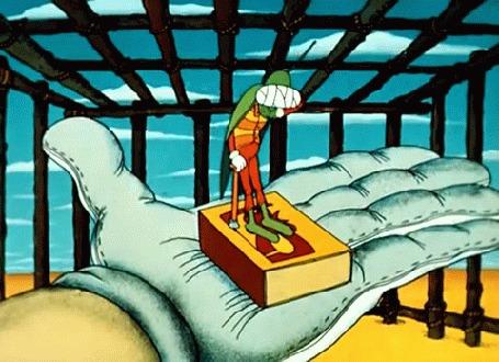 Анимация Больной кузнечик на руке, мультик Доктор Айболит