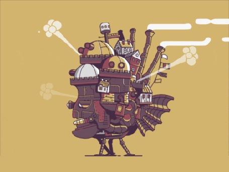 Анимация Ходячий замок на желтом фоне
