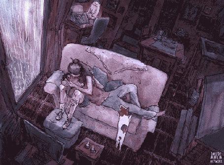Анимация Девушка целует лежащего на диване мужчину, рядом стоит собака, за окном сверкают молнии и льет дождь
