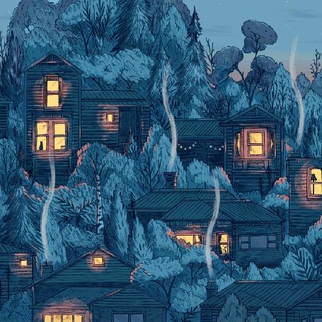 Анимация Деревня, окруженная деревьями, в домах которых горит свет и идет дым из трубы