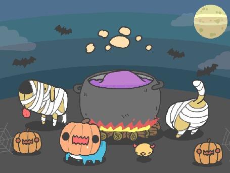 Анимация Capoo / Капу и его друзья из манги Бракованный котик / BugCat-Capoo / Mao Mao Chong Kabo отмечают Хэллоуин (HAPPY HALLOWEEN)