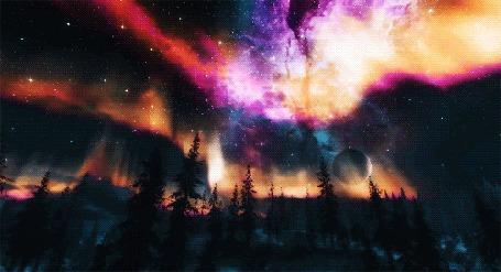 Анимация Звездное небо с северным сиянием над лесом