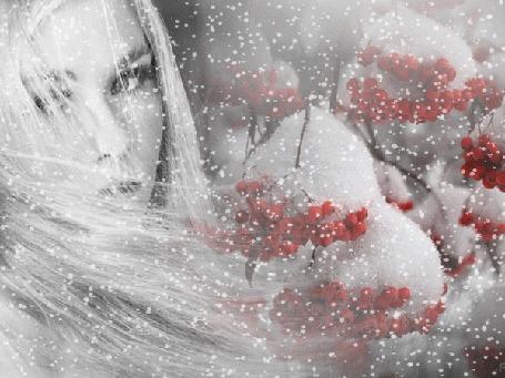 Анимация Девушка блондинка с развевающимися волосами на фоне снегопада и веток рябины, покрытых снегом