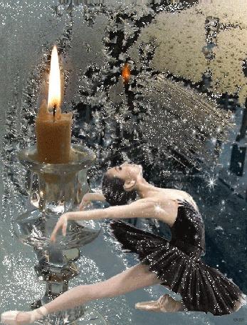 Анимация Балерина в черном качает руками и ногой на фоне горящей свечи и замерзшего окна, идет снег
