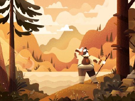 Анимация Бородатый турист с рюкзаком за плечами и палкой в руках стоит на берегу реки, любуясь осенним нарядом природы, by Matthew Jedrzejewski