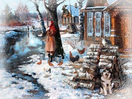 Анимация Девушка стоит во дворе и наслаждается зимним солнечным днем в окружении кур