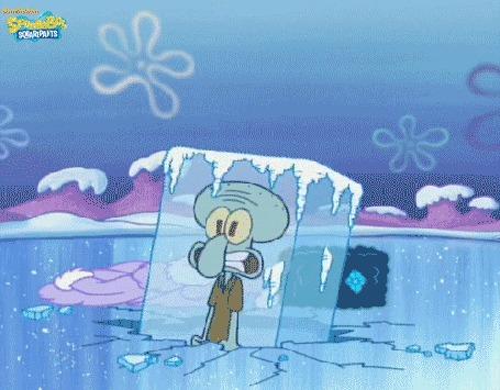 Анимация Squidward / Сквидвард внутри замерзшей льдины, мультсериал SpongeBob SquarePants / Спанч Боб квадратные штаны