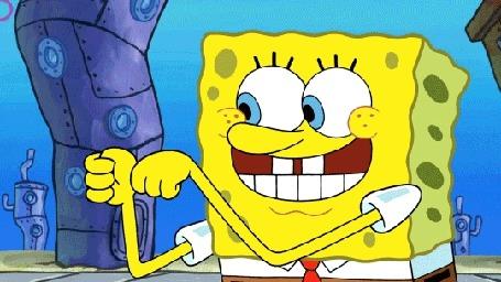 Анимация SpongeBob / Губка Боб показывает большой палец, мультсериал SpongeBob SquarePants / Спанч Боб квадратные штаны