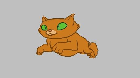 Анимация Рыжий кот с зелеными глазами передвигается скачками