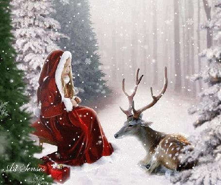 Анимация Девушка сидит перед оленем под падающим снегом