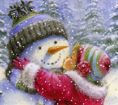 Анимация Девочка целует снеговика под падающим снегом