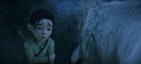 Анимация Девочка стоит перед белым волком