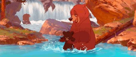 Анимация Кадры из мультфильма Brother bear / Братец медвежонок, где медведица обнимает своего медвежонка, сидя в пруду, производство студии Disney / Дисней