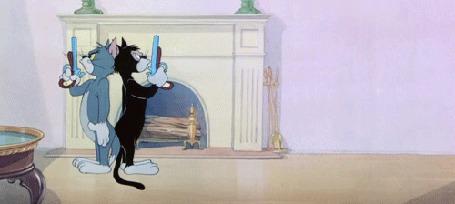 Анимация Два кота устроили дуэль на пистолетах, мультфильм Tom and Jerry / Том и Джерри