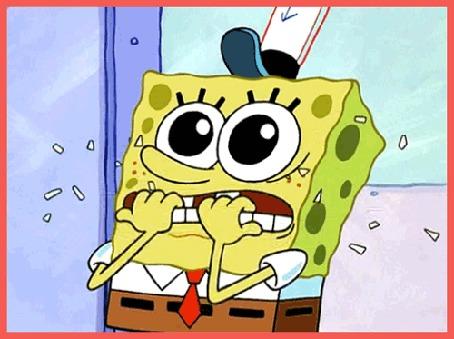 Анимация SpongeBob / Губка Боб нервно грызет ногти, мультсериал SpongeBob SquarePants / Спанч Боб квадратные штаны