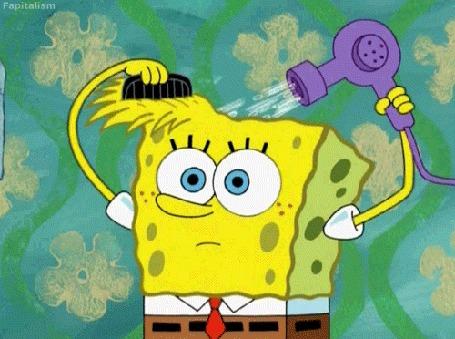 Анимация SpongeBob / Губка Боб делает прическу с помощью расчески и фена, мультсериал SpongeBob SquarePants / Спанч Боб квадратные штаны