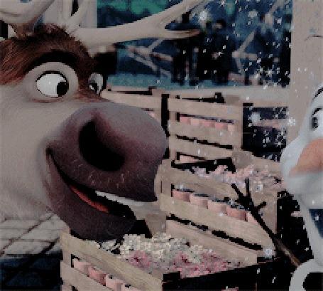 Анимация Снеговик Олаф / Olaf и олень Свен / Sven из мультфильма Холодное сердце / Frozen