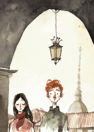 Анимация Парень целует девушку под аркой, by Ilaria Urbinati