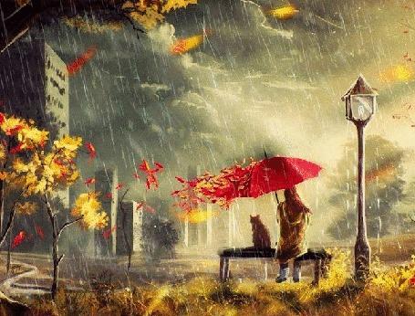 Анимация Девушка и кот сидят под зонтом на лавочке