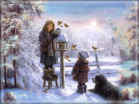Анимация Девочка кормит птиц и рядом стоит ребенок с собакой, которая лежит на снегу