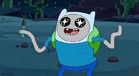 Анимация Finn / Финн из мультсериала Adventure Time / Время приключений размахивает руками