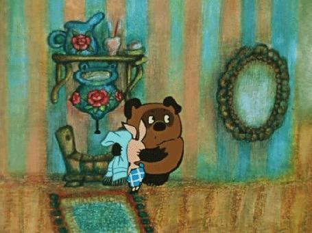 Анимация Винни Пух вытирает полотенцем мордочку Пяточку, Мультик Винни Пух и Пятачок