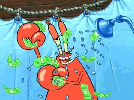 Анимация Мистер Крабс купается под душем из денег, мультсериал Губка Боб Квадратные Штаны
