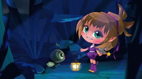 Анимация Девочка с крылышками и милый жучок в лесу, мультик Машкины Страшилки