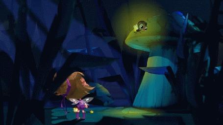 Анимация Жучок-светлячок летит по ночному лесу, мультик Машкины Страшилки