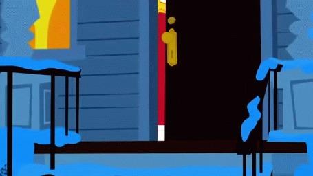 Анимация Том выходит на крыльцо и получает снежком от мышонка, мультфильм Том и Джерри