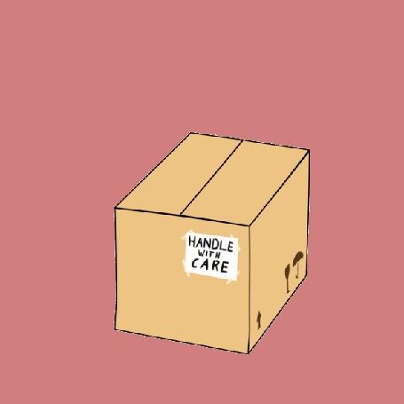 Анимация Сумеречная Искорка / Twilight Sparkle из мультсериала Мой маленький пони: Дружба – это чудо / My Little Pony: Friendship is Magic / MLP:FiM выпрыгивает из коробки, держа листочек с сердечком во рту (Handle with Care / Обращаться с осторожностью)