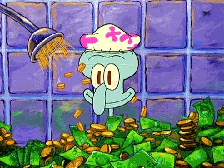 Анимация Сквидвард принимает душ из денег, мультфильм Губка боб квадратные штаны