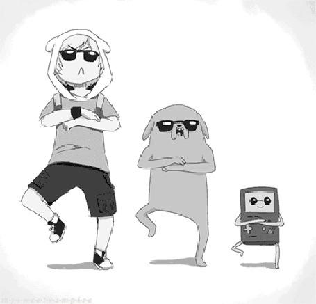 Анимация Gangnam Style / Гангнам стайл от Finn & Jake / Фина и Джейка, мультсериал Adventure Time / Время приключений,