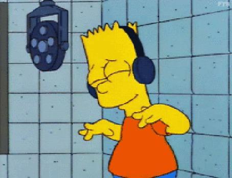 Анимация Барт Симпсон слушает музыку в наушниках, мультсериал Симпсоны