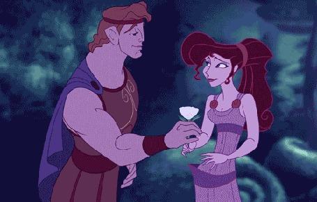 Анимация Геркулес дает Мег цветок и целует ее в щеку из мультфильма Геркулес / Hercules