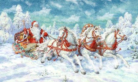Анимация Троица лошадей с санями, где сидит Дед Мороз