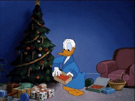 Анимация Donald Duck / Дональд Дак наряжает елку, герой мультфильма студии Walt Disney / Волта Диснея