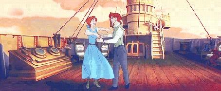 Анимация Дмитрий и Анастасия танцуют, персонажи из мультфильма Anastasia / Анастасия