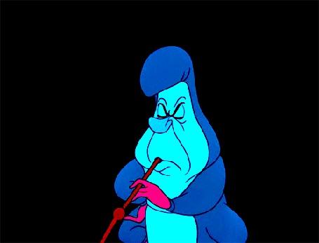 Анимация Гусеница выдувает дым в виде дракона, мультфильм Alices Adventures in Wonderland / Алиса в стране чудес
