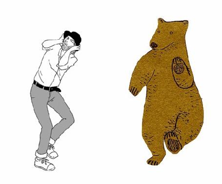 Анимация Танец парня с медведем