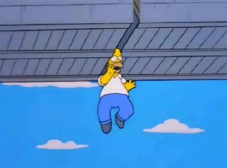 Анимация Голова Симпсона застряла между плит моста, мультфильм The Simpsons / Симпсоны