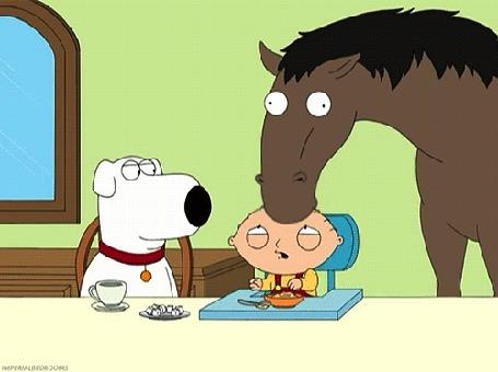 Анимация Лошадка целует в макушку ребенка, мультфильм Family Guy / Гриффины