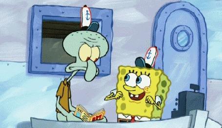 Анимация Спанч Боб целует Сквидворда, мультсериал SpongeBob SquarePants / Губка Боб Квадратные Штаны