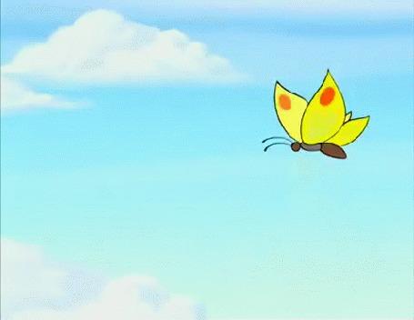 Анимация Бабочка летает над зайцем, мультик Ну, погоди!