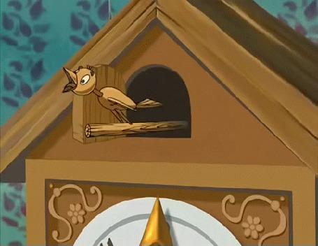 Анимация Кукушка с часов будит спящего волка, мультик Ну, погоди!