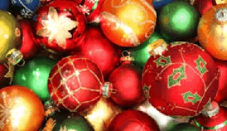 Анимация Новогодние разноцветные шары